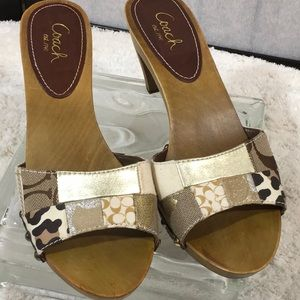 Coach patchwork wooden mules